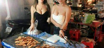 Sexy Thai Girls Selling Fried Banana Fritters in Kanchanaburi Night Market