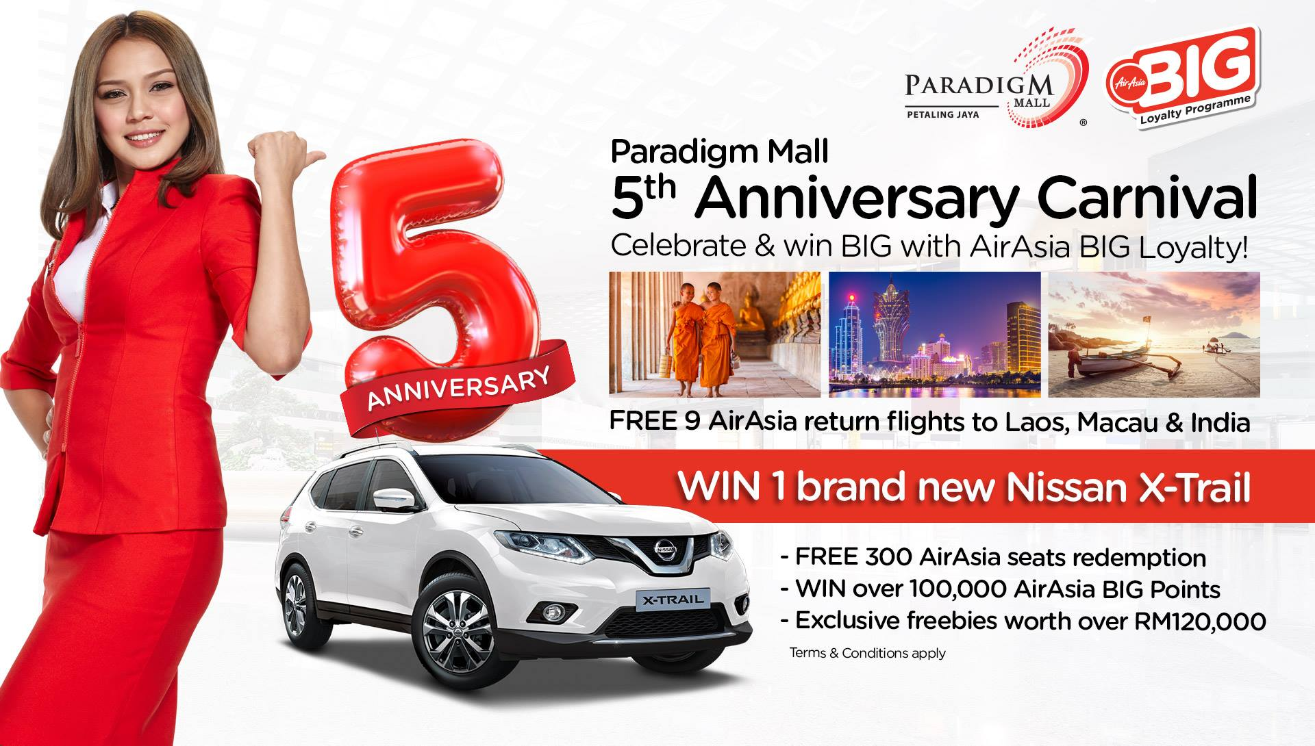 Win AirAsia Flights & Nissan X-Trail at Paradigm Mall 5th Anniversary Carnival